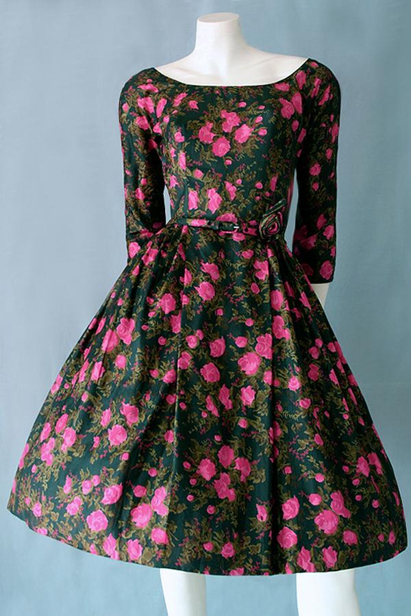 Divine 1950s floral pure silk dress