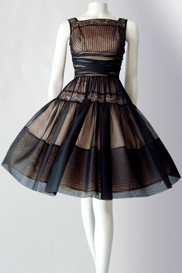 Vintage 50s silk organza dress