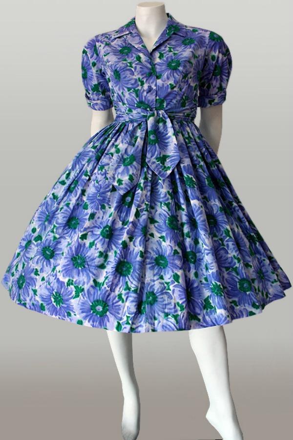 Vintage 1950s floral cotton shirtwaist dress.