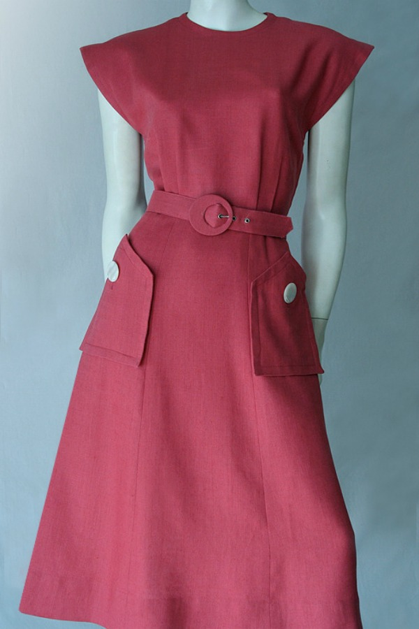 Classic 1950s Linen Dress Vintage Clothing Genuine