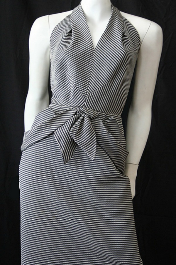 Vintage 50s silver and black striped halter-neck  dress