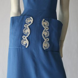 Vintage 40s to 50s cornflower blue linen embroidered dress