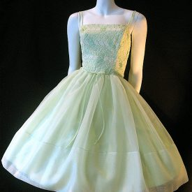 Vintage 1950s pale green embroidered lace and nylon chiffon dress.