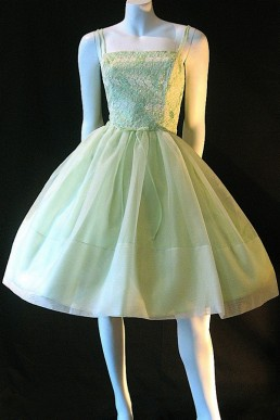 Vintage 50s chiffon and lace dress