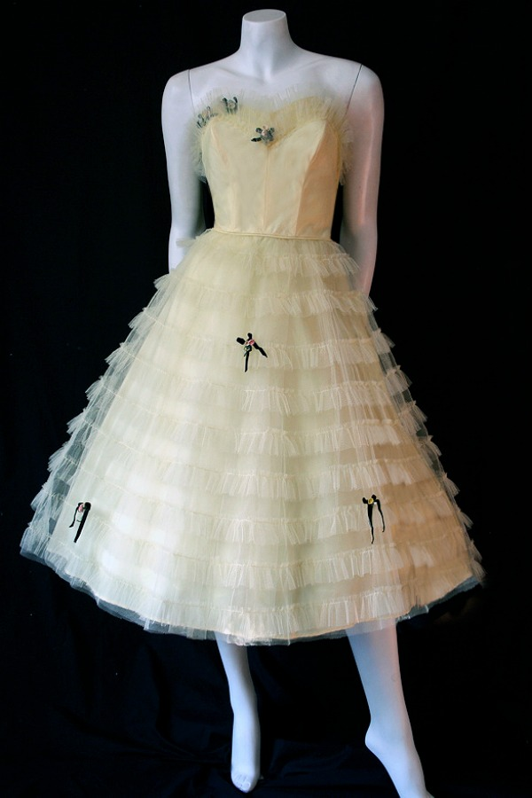 Vintage 1950s lemon tulle prom dress