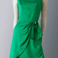Vintage 1950s Emerald green satin dress