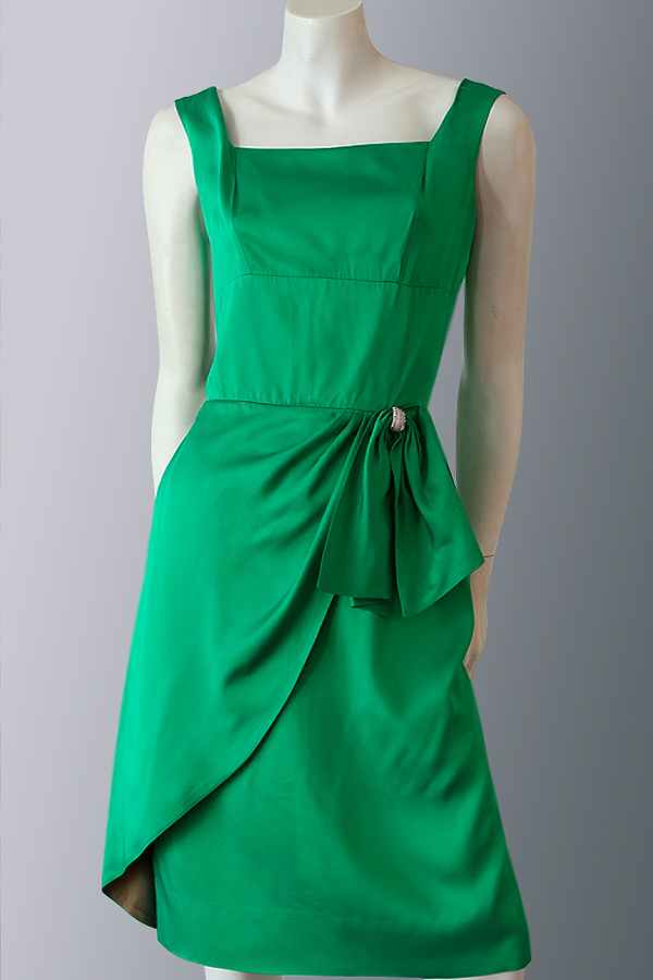 50s green satin wiggle dress 600×900