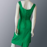 1950s Emerald green satin dress full back view