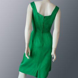1950s Emerald green satin dress full back view