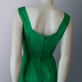 1950s Emerald green satin dress back view