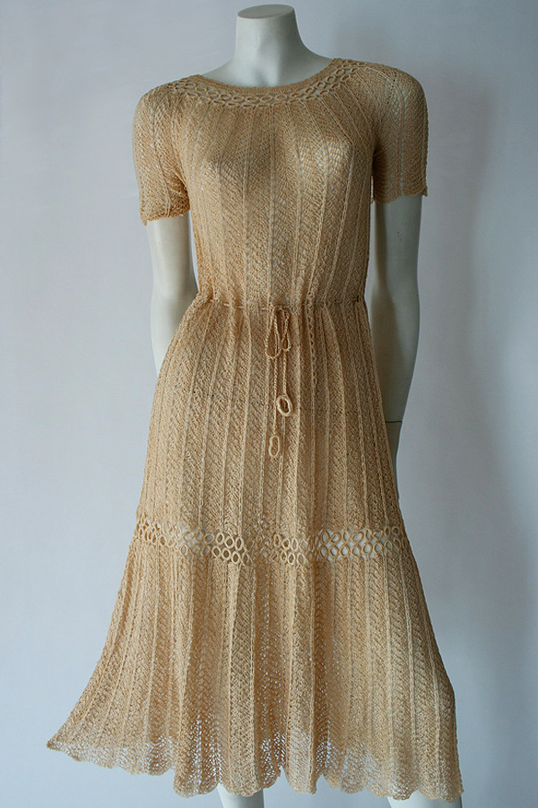 30s crocheted silk dress full length 600×900