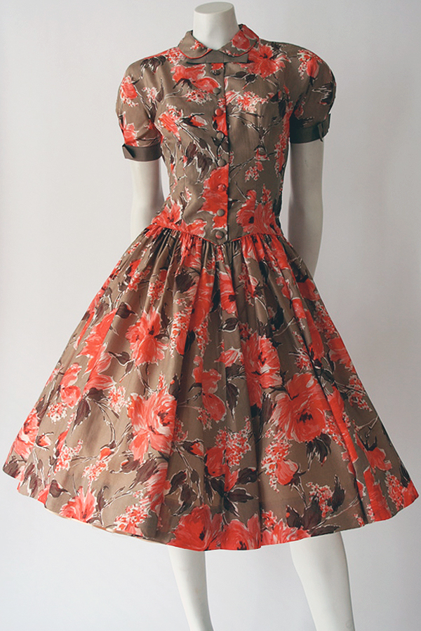 50s Pat Hartly floral dress full length 600×900